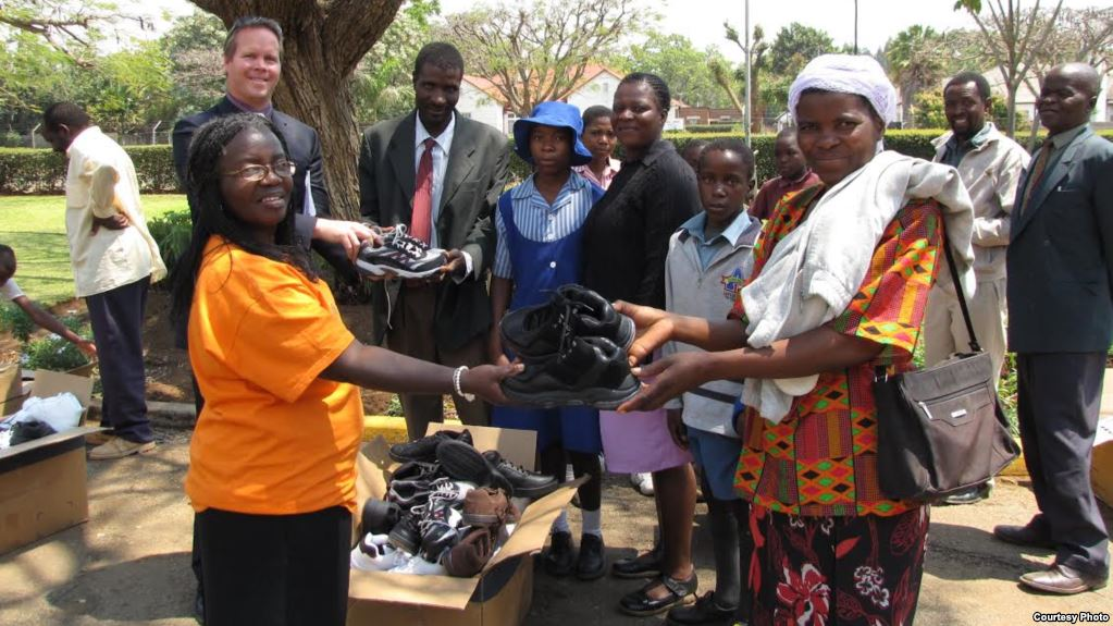 Zimbabwean in USA Collecting Shoes for Poor Children